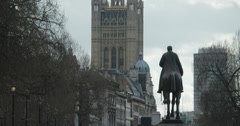 4K pan up from the Haig monument on Whitehall to the Houses of Parliament London - stock footage