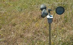anemometer on the ground - stock photo