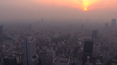 Aerial Metropolis cityscape sunset Tokyo Roppongi Hills Urban area Japan - stock footage