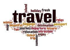 travel word cloud - stock illustration