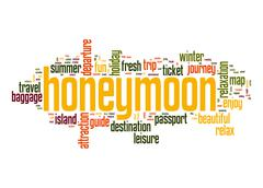 honeymoon word cloud - stock illustration