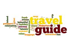 travel guide word cloud - stock illustration