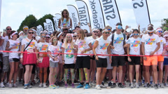 Slow Motion The Color Run 2014 Munich at Riemer park starting point Stock Footage
