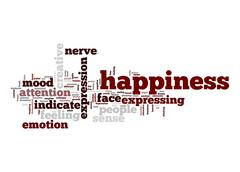 Stock Illustration of happiness word cloud