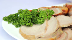 Dish of meat. The art of cooking meat. Stock Footage