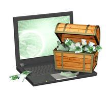 Earnings in the Internet - stock illustration