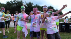 The Color Run 2014 Munich at Riemer park drink Alcohol free beer - stock footage