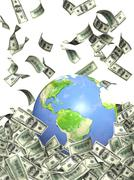 Earth and money - stock illustration