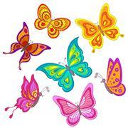Set butterflies - stock illustration