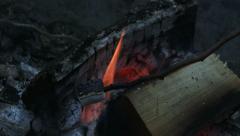 Roasting marshmallows on fire Stock Footage