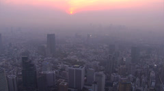 Aerial sunset National Sports Stadium venue 2020 Olympic Park Tokyo Japan - stock footage