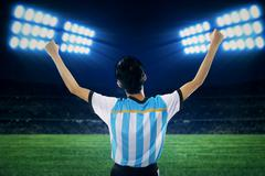 Argentine soccer player celebrate winning  Stock Photos