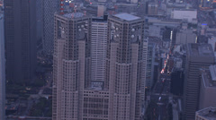 Aerial close up Tokyo city Metropolitan Government Building Japan - stock footage