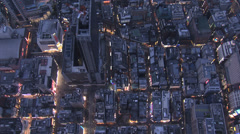 Aerial overhead Metropolis Tokyo city commuter pollution office Japan Stock Footage