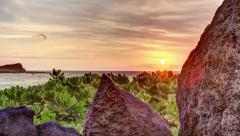 Close Tracking HDR Time Lapse Shot of Hawaii Beach Dawn Stock Footage