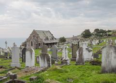 Graveyard on Great Orme's Head, North Wales - stock photo