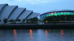 The armadillo and the hydro at dusk, glasgow, scotland Stock Footage