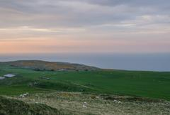 Sunset from Great Orme's Head coastline - stock photo