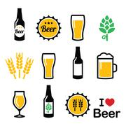 Beer colorful vector icons set - bottle, glass, pint Stock Illustration