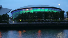 The secc hydro concert hall at dusk, glasgow, scotland Stock Footage