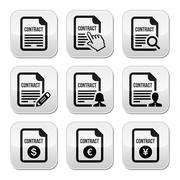 Business or work contract signing vector buttons set - stock illustration