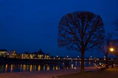 Elbe at night - stock photo