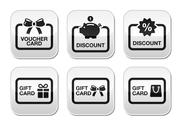 Stock Illustration of Voucher, gift, discount card vector buttons set