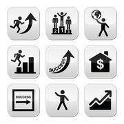 Success in business, self development buttons set - stock illustration