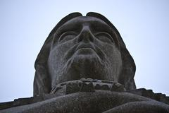 detail of the enormous statue of christ in Portugal - stock photo