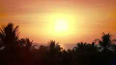 Beautiful sunset over the sea and palm trees on Koh Samui Stock Footage