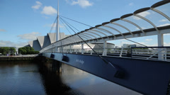 Bells bridge, the armadillo clyde auditorium and the hydro, glasgow, scotland Stock Footage