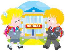 Schoolchildren going to school - stock illustration