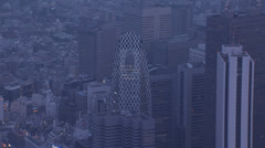 Aerial Shinjuku Mode Gakuen Cocoon Sompo skyscraper Tokyo  Stock Footage