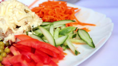 Salad of fresh vegetables.Fresh, chopped vegetables for a salad. Stock Footage