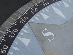 Detail of a compass showing the arrow directing south Stock Illustration