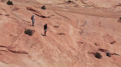 Hikers red standstone mountain Zion National Park Utah HD Stock Footage