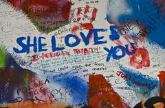 Lennon wall - stock photo
