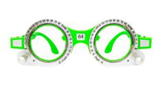 Green spectacles used for eyesight tests isolated on white background Stock Photos