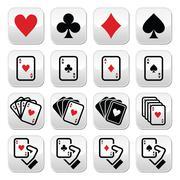 Playing cards, poker, gambling buttons set Stock Illustration