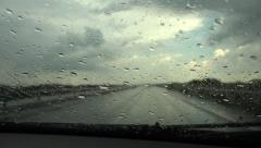 4K Driving Car in Rain on Road Highway Stormy Windshield Travelling Traffic View Stock Footage