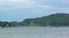Sailing boats anchored on South-Western Scottish Loch Stock Footage