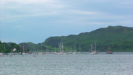 Stock Video Footage of Sailing boats anchored on South-Western Scottish Loch