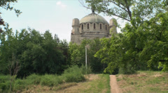 Human Crematorium On A Hill, Pan Shot, Summer, Heatwave - stock footage
