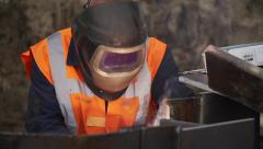 Welding Slomotion with Mask Closeup Stock Footage