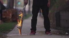 SKATEBOARD ON FIRE (4K 3840x2160) Stock Footage