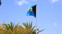 Bahamas Flag Stock Footage