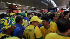 Soccer Fans wait in line to enter to the match Brazil x Croatia in 2014 Stock Footage
