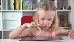4K Little Girl Child Playing Tablet, Computer, Surfing Internet Ipad, Kid Office Stock Footage
