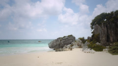 Private beach on tulum Stock Footage