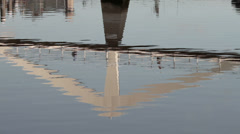 Reflections of squiggly bridge over river clyde, glasgow, scotland Stock Footage